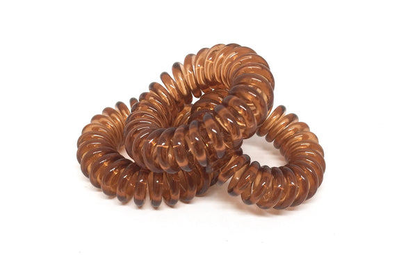 Spiral Hair Ties - No.6 Brown translucent