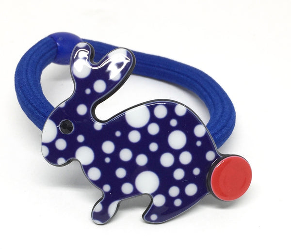 Inky Rabbit pony elastic - dark blue dots
