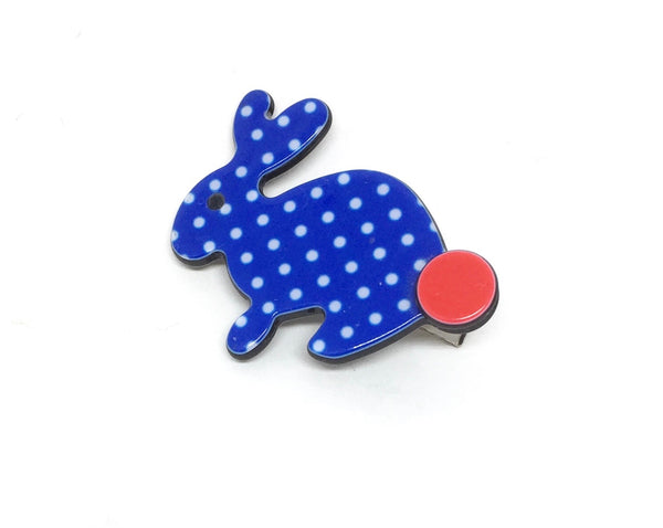 Little Inky rabbit - blue polka