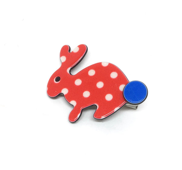 Little Inky rabbit - red polka