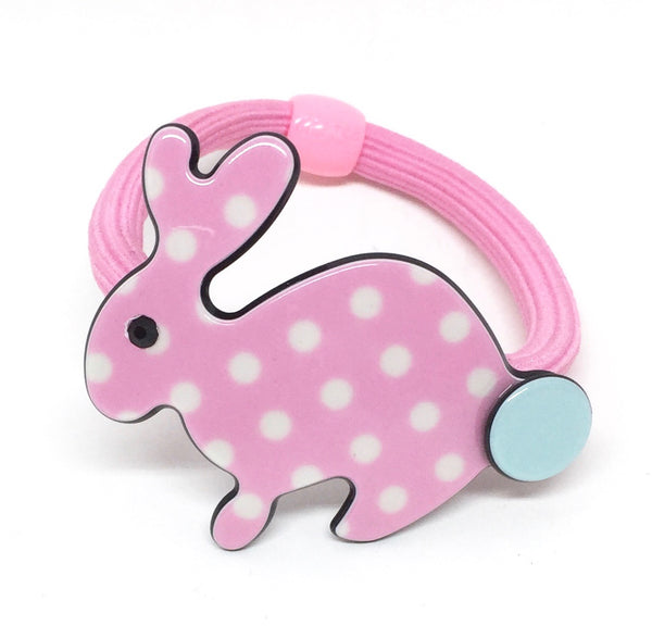 Inky rabbit - pale pink polka