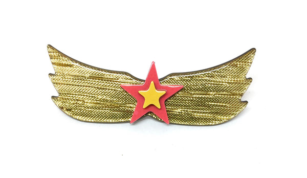 Shield with gold wings - hairclip