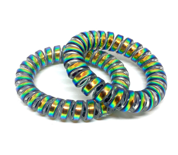 Large Spiral Hair Ties - Iridescent greens