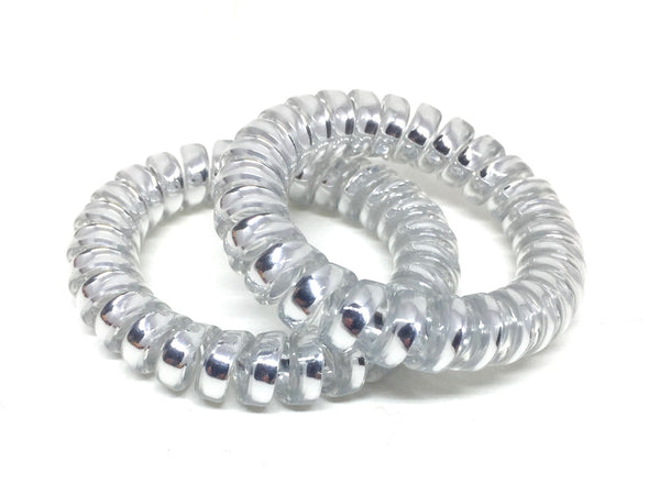 Large Spiral Hair Ties - silver