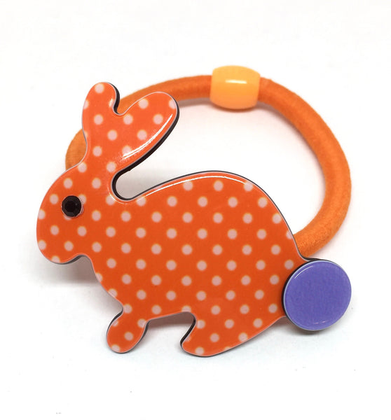 Inky rabbit - orange polka