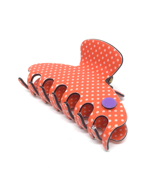 Barcelona medium claw - Orange polka