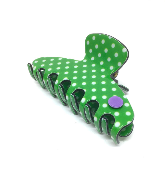 Barcelona medium claw - Green polka