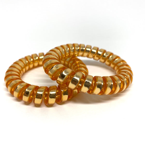 Large Spiral Hair Ties - gold