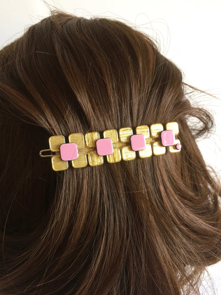Fancy flower - long hair clip - gold