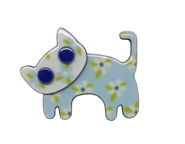 Happy cat - pale blue floral