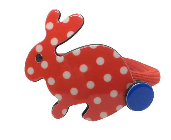 Inky rabbit ponytail elastic - red polka
