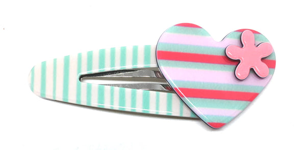 Heart click clack - Pale green stripe