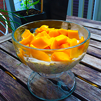 Mango and yogurt in a bowl
