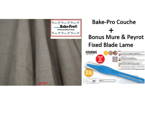 Bake-Pro Bakers Couche, Natural Linen, with Bonus Fournil Lame