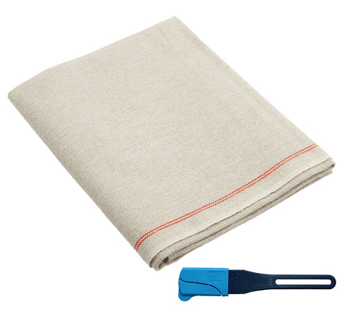 Bakers Couche - 100% Pure French Flax Linen Heavy Duty Proofing Cloth from Tissage Deren of  France,  26 x 24 Inch, with Bonus Fournil Lame
