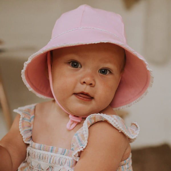 Baby Bucket hat Ruffle trim Blush