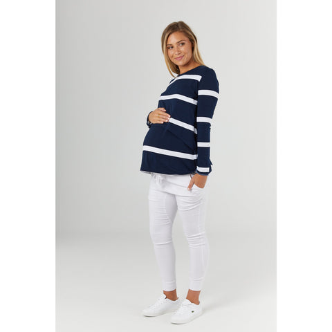 Top Moss Navy stripe