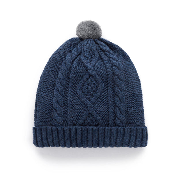Beanie Cable Grey twisted navy