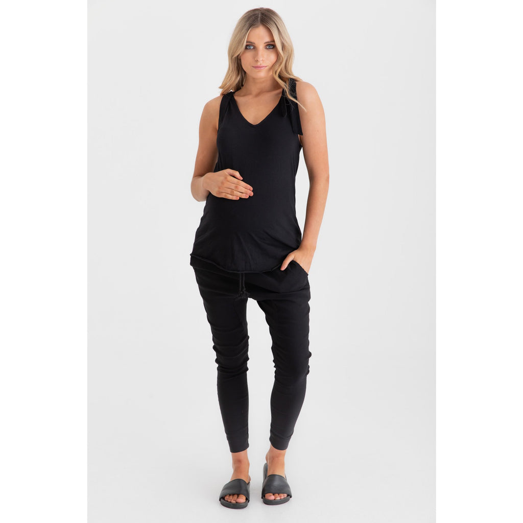 Top Shoulder tie tank Black