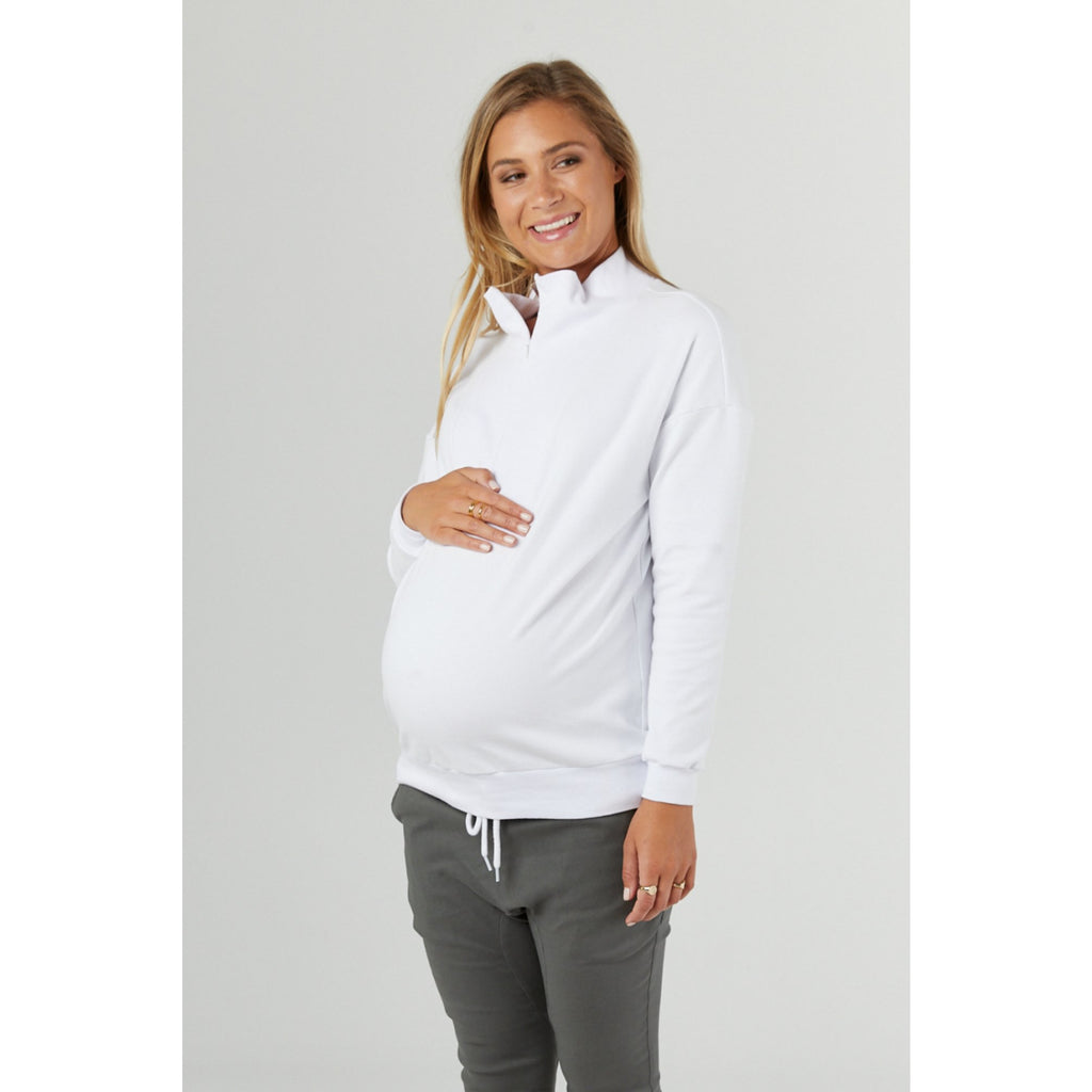 Top Zip collar sweat white