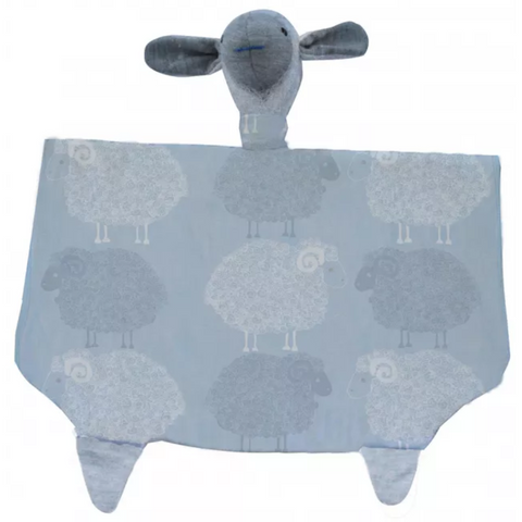 Merino Kids Snuggle Toy - Blue Sheep Print