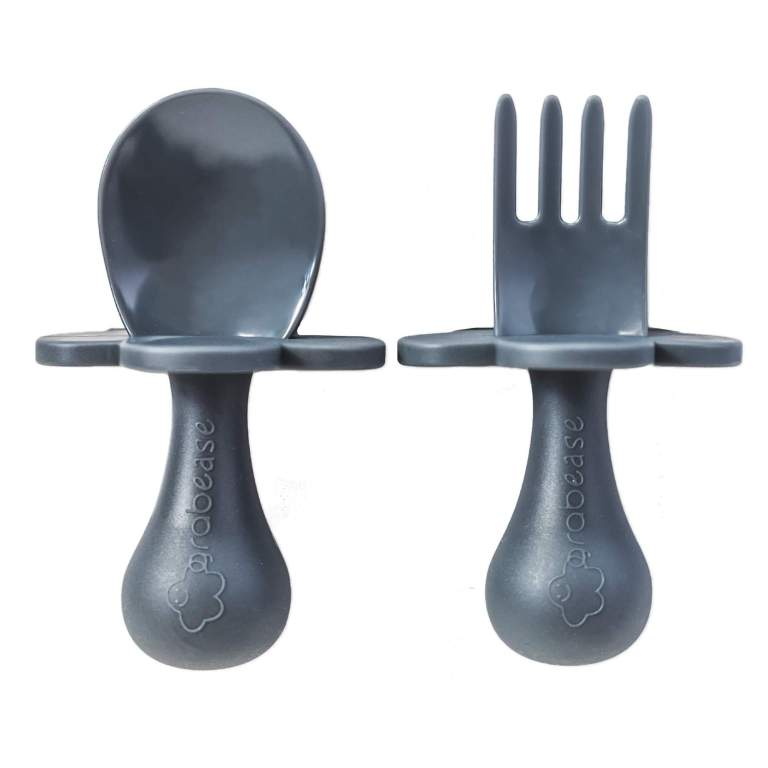 Grabease Toddler Fork and Spoon Set Grey