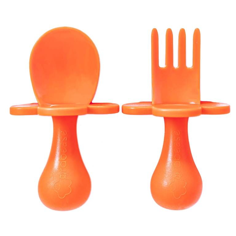 Grabease Toddler Fork and Spoon Set Orange