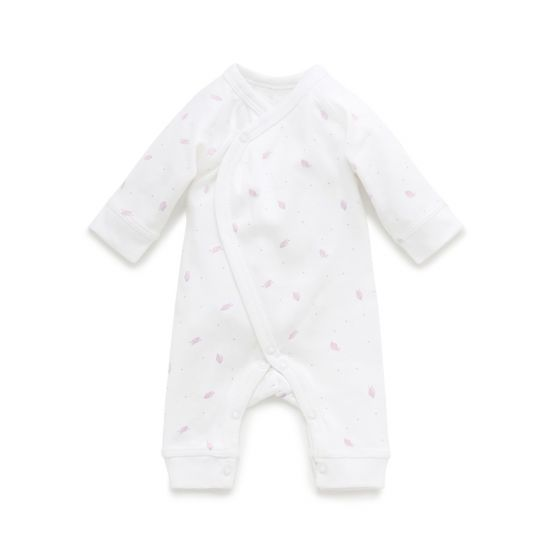 Purebaby Premi crossover Growsuit - Pale pink leaf