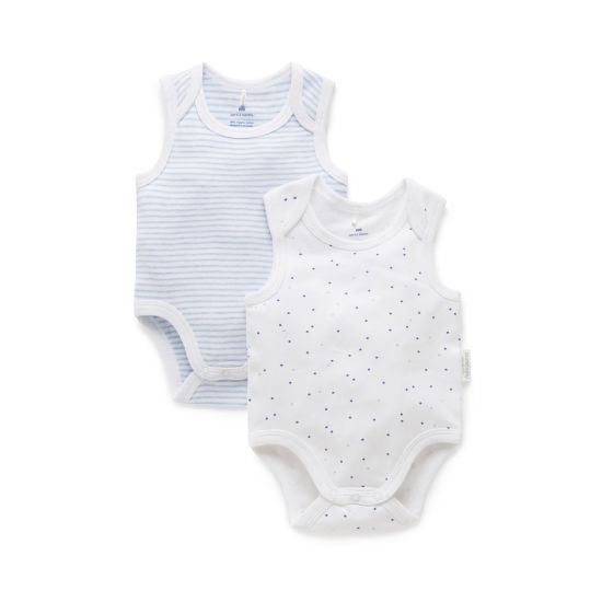 Purebaby Singlets 2 pack Blue