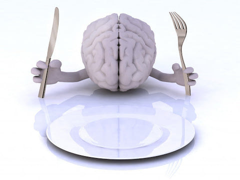 illustration of a brain holding fork and knife on a plate