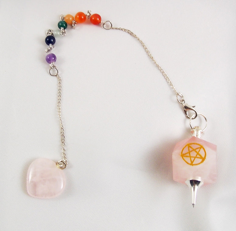 Rose Quartz Pendulum 7 Chakra Bracelet - The Eccentric Muse