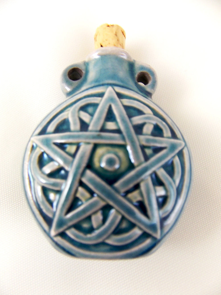 Pentacle Raku Oil Bottle Necklace Charm - The Eccentric Muse