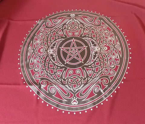 Burgundy Pentacle Altar Cloth - The Eccentric Muse