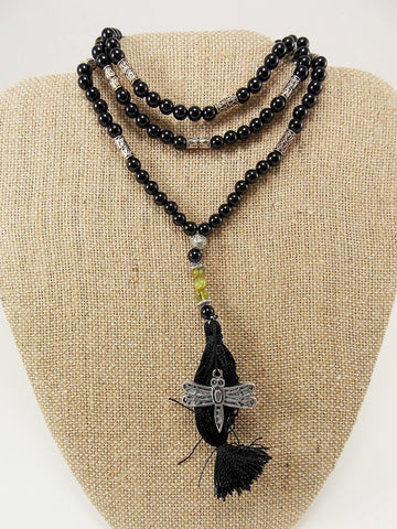 Black Agate & Peridot Japa Mala / Prayer Beads - The Eccentric Muse