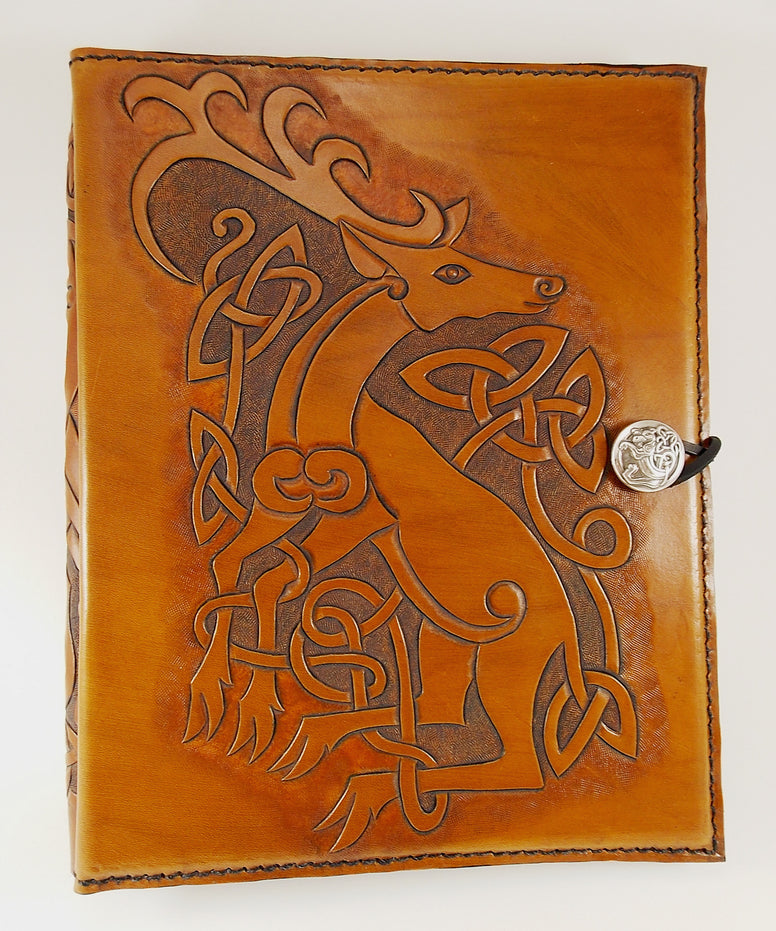 Hand Crafted Leather Celtic Stag Book of Shadows - The Eccentric Muse