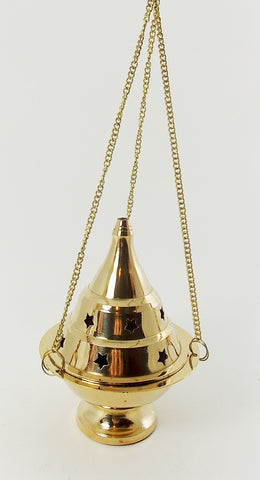 Hanging Brass Cone Incense Burner w/ Star Punched Lid - The Eccentric Muse
