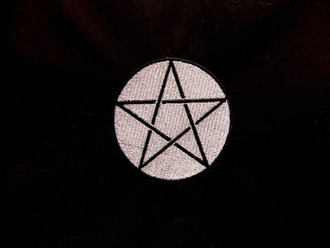 Handmade Black Drawstring Tarot Cloth w/ Silver Embroidered Pentacle