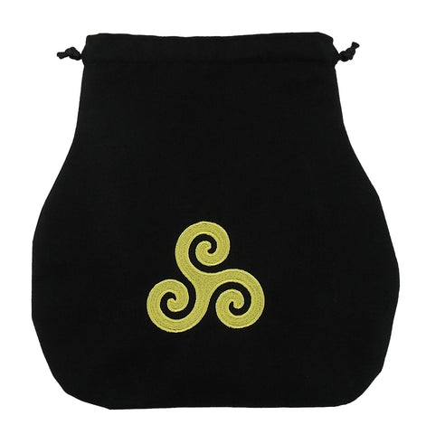 Handmade Black Drawstring Tarot Bag w/ Yellow Embroidered Triskelion - The Eccentric Muse