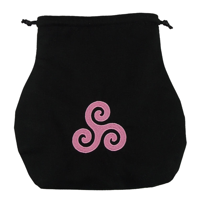 Handmade Black Drawstring Tarot Bag w/ Pink Embroidered Triskelion - The Eccentric Muse