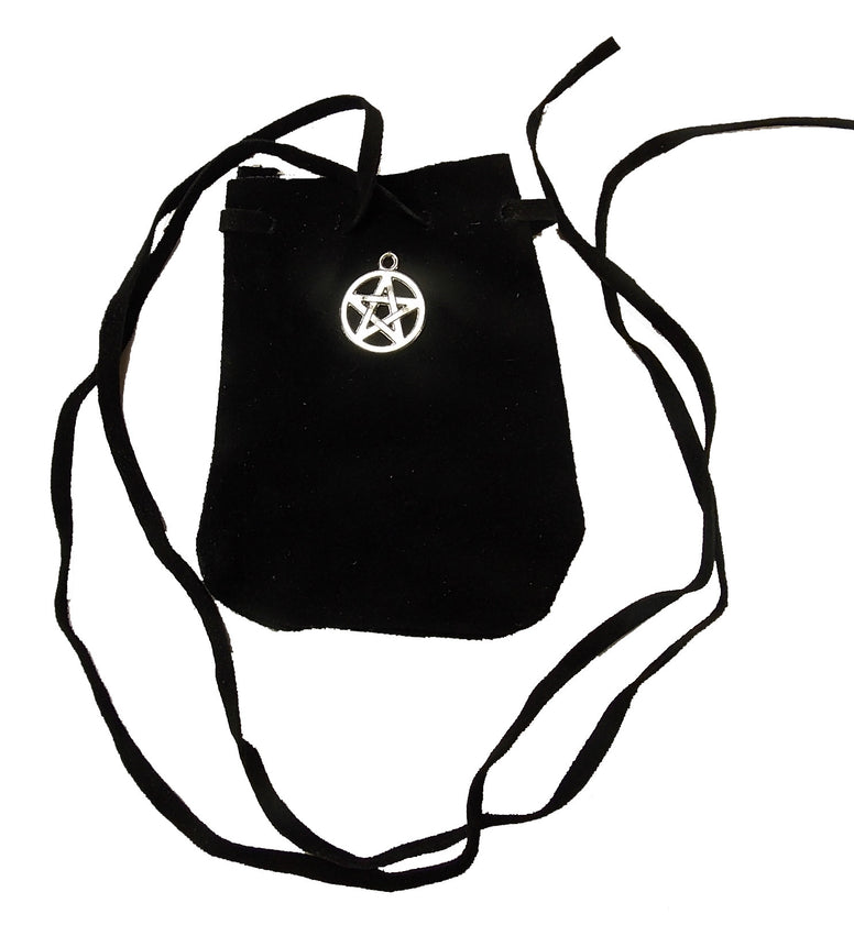 Mini Black Suede Drawstring Pouch with Pentacle Charm - The Eccentric Muse