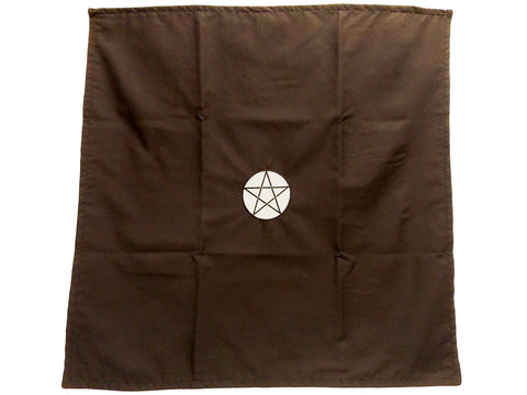 Handmade Black Drawstring Tarot Cloth w/ Silver Embroidered Pentacle - The Eccentric Muse
