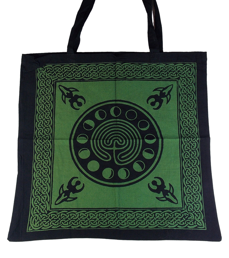 Labyrinth w/ Moon Phases Tote Bag - The Eccentric Muse