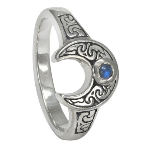 Horned Moon Ring w/ Rainbow Moonstone - The Eccentric Muse