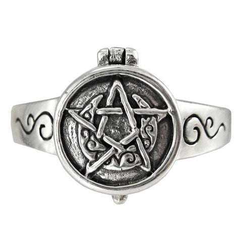 Sterling Silver Crescent Moon Pentacle Poison Locket Ring - The Eccentric Muse