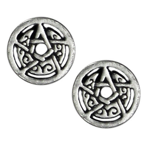 Silver Crescent Moon Pentacle Stud Earrings - The Eccentric Muse