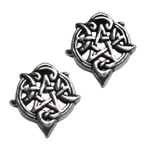 Silver Heart Pentacle Stud Earrings - The Eccentric Muse