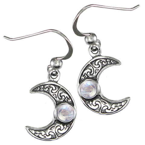Sterling Silver Horned Crescent Moon Earrings with Rainbow Moonstone - The Eccentric Muse