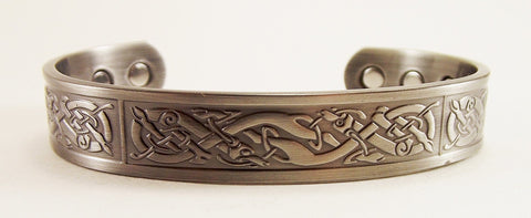 Antique Silver Finish Copper Celtic Deer Cuff - The Eccentric Muse
