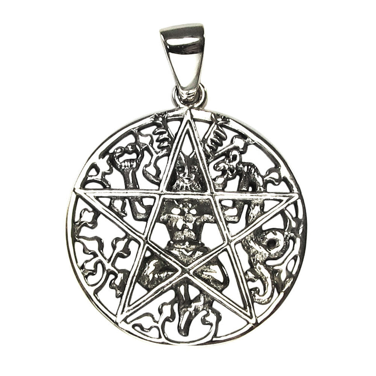 Sterling Silver Cernunnos Pentacle Pendant - The Eccentric Muse