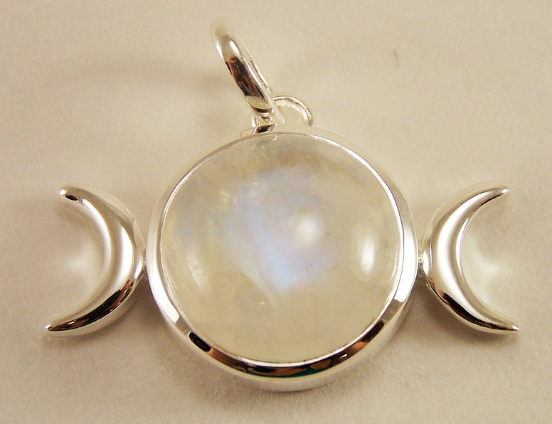 Sterling Silver Moonstone Triple Moon Pendant - The Eccentric Muse